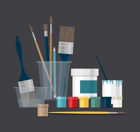 Paints, brushes, pencils, pen. Back to school. Vector Illustration