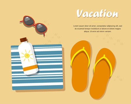 Vacation. Flipflops in the sand with towel, sunglasses and cream from tan