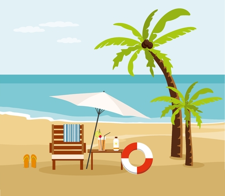 Chair lounge and umbrella on beach. Summer Vacation and Tourism
