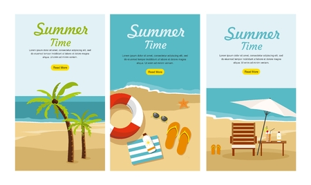 Summer Vacation and Tourism concept with Three Set Web banners