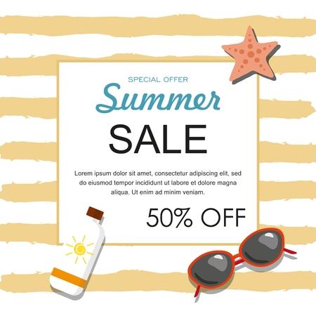 Summer sale banner with sunglasses, sun, oil and starfish Vector illustration Illustration