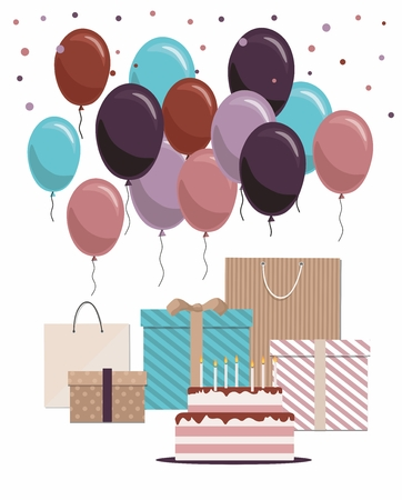 Happy birthday card with cake, gifts and balloons Isolated on White Background Illustration