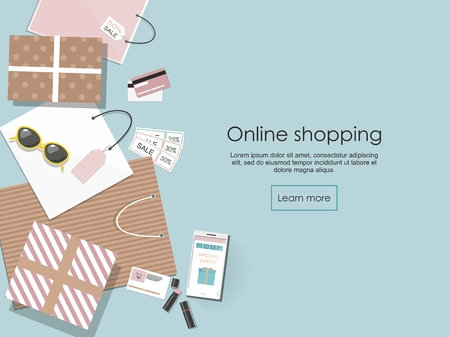 Online shopping. Shopping bags and others isolated on blue background Vector Illusrtation