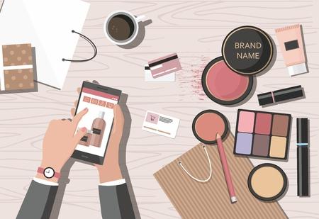 Productos de maquillaje sobre la mesa. Tienda de belleza online. Ilustración vectorial