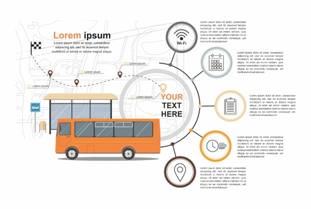 Orange Bus at the bus stop on the background of the city map, Transport infographic. Vector Illuatration