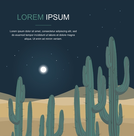 Cactus tree. Night desert landscape Vector Illustration Ilustração