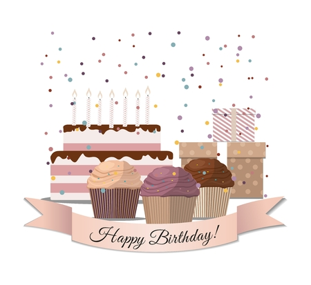 Set of sweet cupcake, birthday cake and gifts Birthday card Vector illustration.
