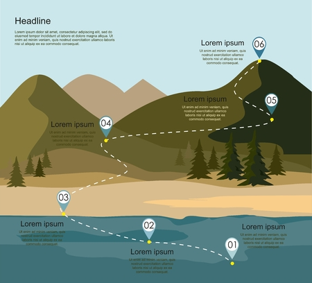 Layers of mountain landscape with forest and river. Tourism route infographic. Illustration