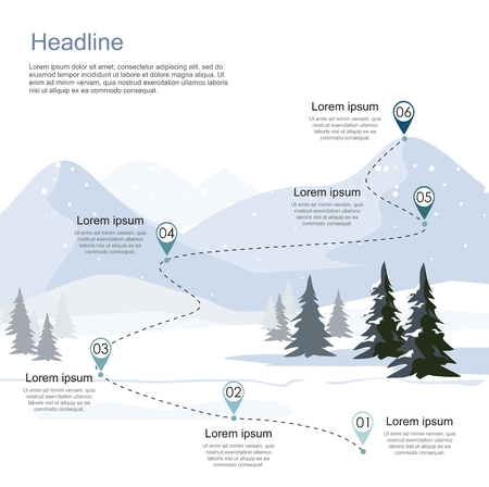 Winter ski resort, route infographic. Layers of mountain landscape with fir forest. Vector illustration. Çizim