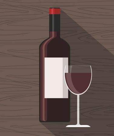 Red wine bottle and wine glass on a wooden background. Vector Illustration Vektorové ilustrace