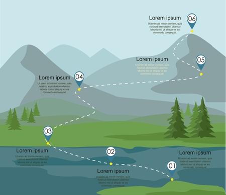Infografica del percorso turistico. Strati di paesaggio di montagna con bosco di abeti e fiume. Illustrazione vettoriale.