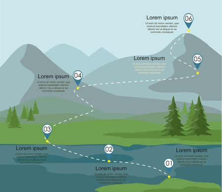 Tourism route infographic. Layers of mountain landscape with fir forest and river. Vector illustration. Ilustração