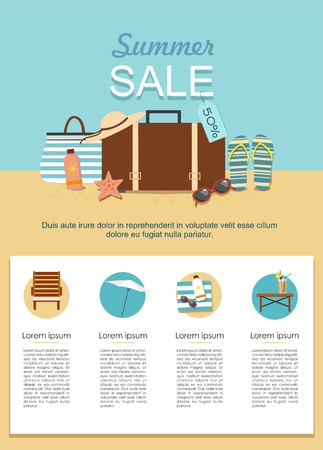 Summer Sale infographic. Suitcase and Beach Accessories on sand. Vector illustration