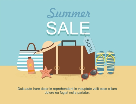 Summer suitcase and Beach Accessories on sand. Discount Summer sale goods Ilustração