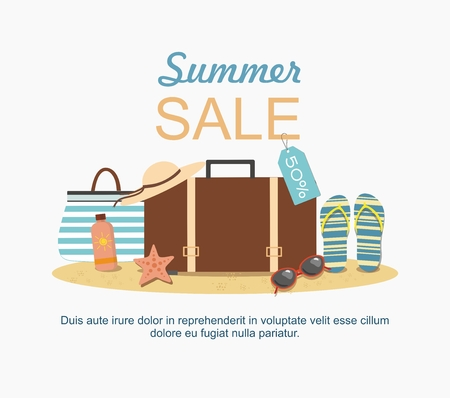 Summer suitcase and Beach Accessories on sand. Summer sale Vector illustration Ilustração
