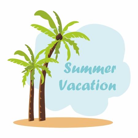 Palm trees on a sandy island. Summer vacation Illustration