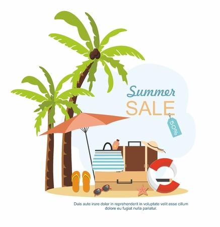 Summer suitcase, Beach Accessories and palm tree on beach. Summer sale Vector illustration Ilustração