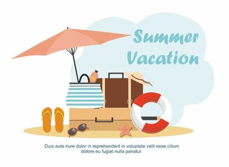 Beach Accessories and Summer luggage on the beach. Summer sale Vector illustration Ilustração