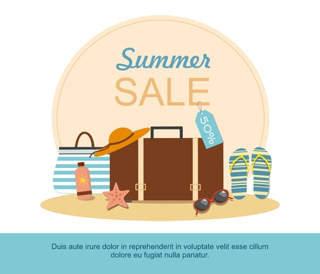 Suitcase and Beach Accessories on island. Summer sale, shopping Vector illustration Ilustração