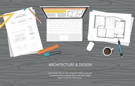 Lugar de trabajo - Proyecto de construcción Ilustración de vector