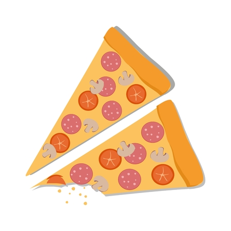 Pepperoni Pizza on a white background. vector Illustration Illustration