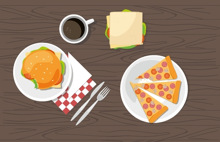 Hamburger, sandwich, Pepperoni Pizza and cup of coffee on a wooden table  イラスト・ベクター素材