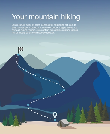 Hiking route infographic. Layers of mountain landscape with fir trees . Vector illustration Vektoros illusztráció