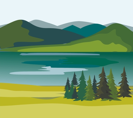 Layers of mountain landscape with fir trees and river. Vector illustration