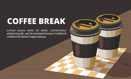 Coffee Break. Two Paper cup of coffee on wooden table. Vector Illustration