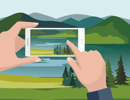 Mobile photography concept. Man looking photos of nature landscape with fir trees and river to phone. Vector Illustration