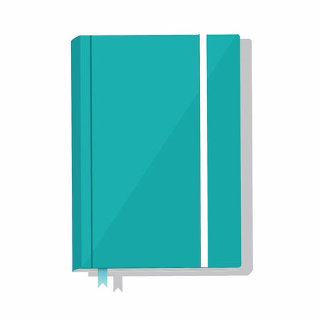 Blue note book isolated on white background. Vector Illustration