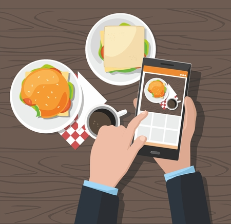 Mobile photography concept. Man taking photos of hamburger and cup of coffee on the smartphone. Vector Illustration Standard-Bild - 106962211