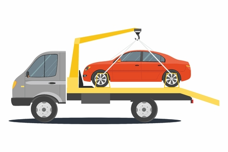 Road assistance. Car evacuator isolated on white background. Vector flat Illustration Vecteurs