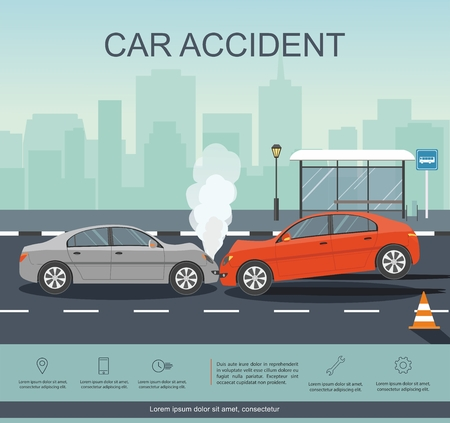 Wypadek z dwoma samochodami na drodze. Plansza transporacji. Ilustracja wektorowa płaski transparent