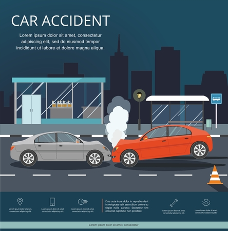 Accident with two cars on the road. Transporation Infographic. Night city.Banner Flat Vector Illustration Illustration