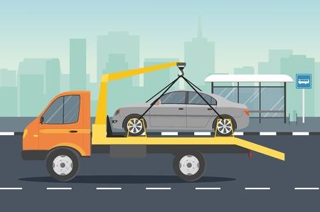 Assistenza stradale. Evacuatore per auto con auto grigia su strada. Vector piatta illustrazione