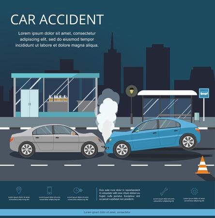 Incidente con due auto sulla strada. Infografica di trasporto. Città di notte Vettoriali