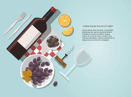 Wine glass, wine bottle, olives and grapes composition on blue background. Vector Illustration Ilustração