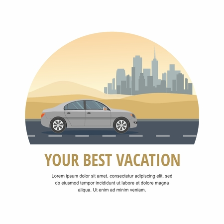 Vacation. Gray Car Drive on Road in the Desert Vector Illustration Stock Illustratie