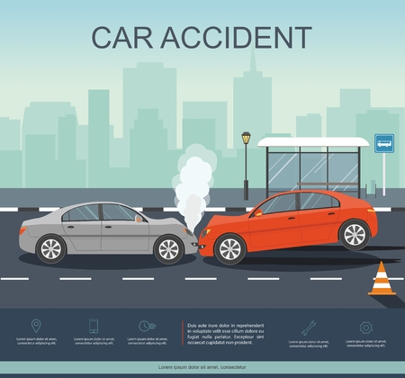 Car Accident on the road. Transporation Infographic.  Banner Flat Vector Illustration Vettoriali