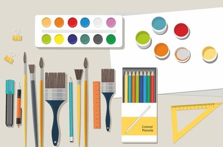 Hobby. Painting, Drawing Illustration. Paints, brushes, pencils. Back to school Ilustração