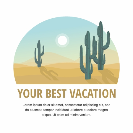 Cactus tree desert landscape Vector Illustration
