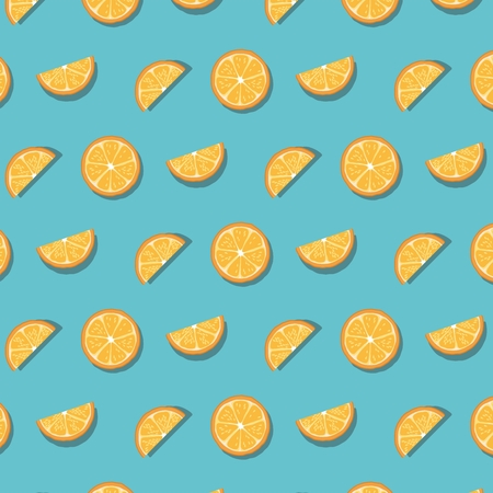 Pattern of oranges slices isolated on blue background. Vector illustration
