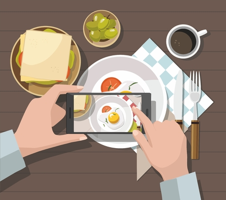 Mobile photography concept. Man taking photos of food on the smartphone. Vector Illustration Standard-Bild - 114085456