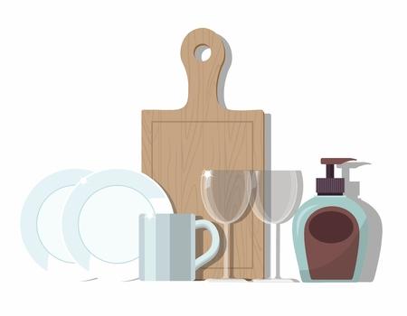 Platos limpios aislados sobre fondo blanco. Ilustración vectorial