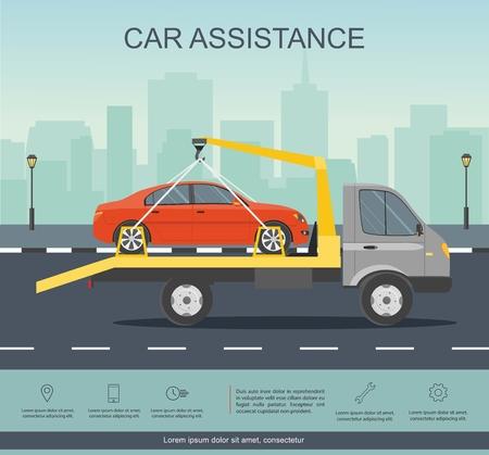 Assistenza stradale. Azionamento dell'evacuatore dell'automobile con l'automobile rossa sulla strada. Infografica. Illustrazione piana di vettore