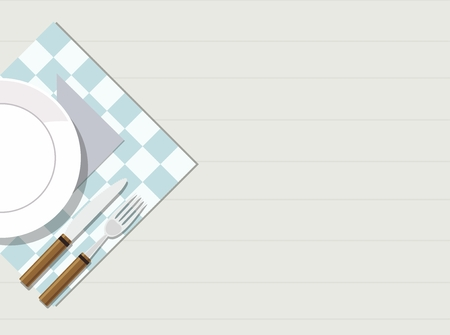 Plate, knife and fork on wooden table. View from the top. Vector Illustration