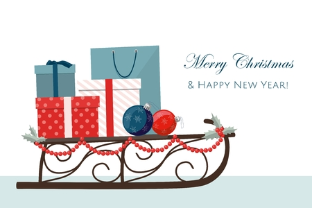 Christmas sleigh filled with gift boxes and shopping bags. Vector Illustration