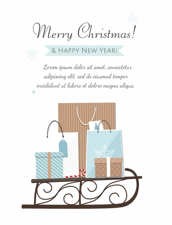 Christmas sleigh filled with gift boxes and shopping bags. Vector Illustration greeting card
