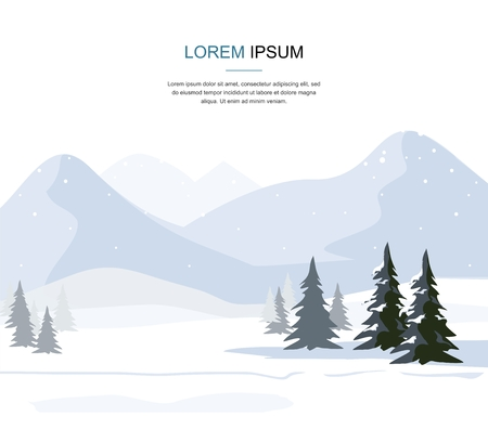 Mountain Winter landscape with fir trees. Vector illustration.